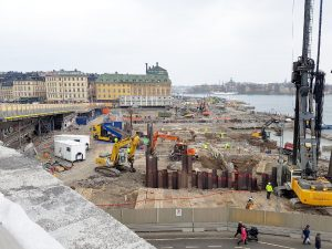 Slussen i Stockholm ur fågelperspektiv