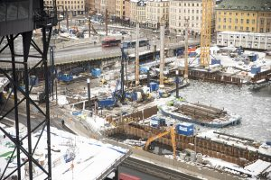 Slussen i Stockholm på vintern ur fågelperspektiv
